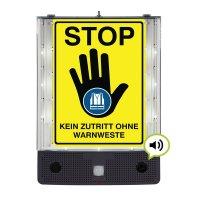 STOP - Kein Zutritt ohne Warnweste - SETON Schild-Wächter, Bewegungsmelder mit Sprachausgabe & LED-Licht