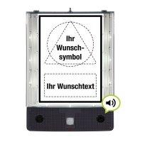 SETON Schild-Wächter mit Symbol und Text nach Wunsch, Bewegungsmelder mit Sprachausgabe & LED-Licht