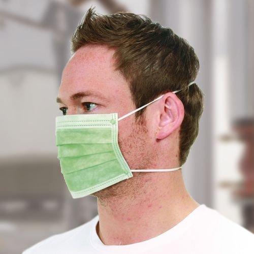 Mundschutz, Vlies mit Gummibändern über Kopf, EN 14683