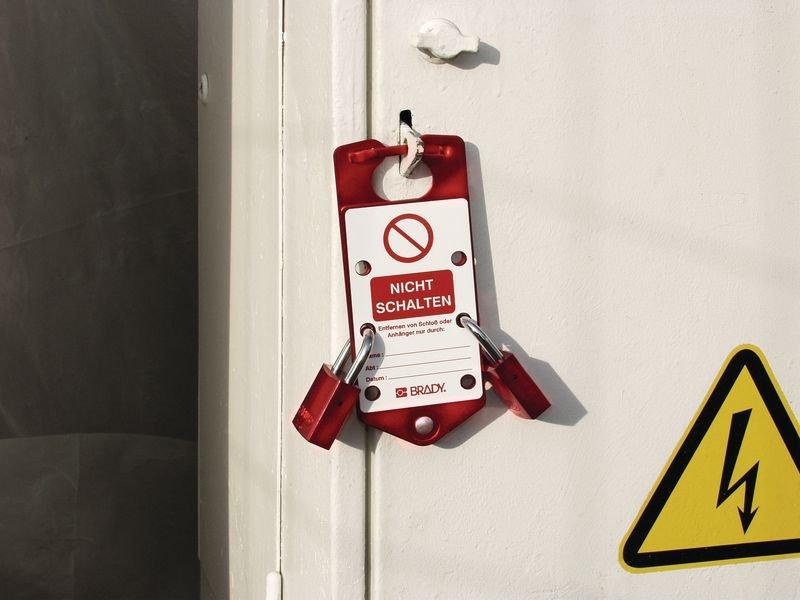 Nicht schalten! Es wird gearbeitet - Zusatz/-Neukennzeichnung für Sicherheits-Blockierbügel, beschriftbar - Wartungsanhänger und Lockout-Etiketten