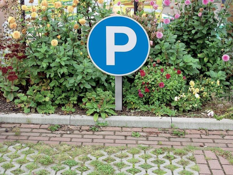 Stahlständer mit Befestigungsplatte - für Parkplatz-Schilder