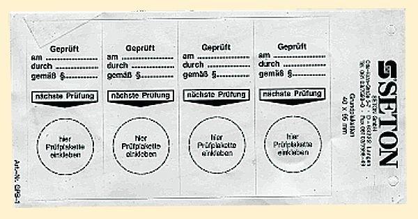 Geprüft am / durch / gemäß - Grundplaketten, fälschungssicher