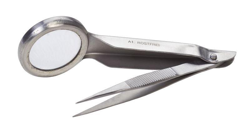Pinzetten mit Lupe, Stahl