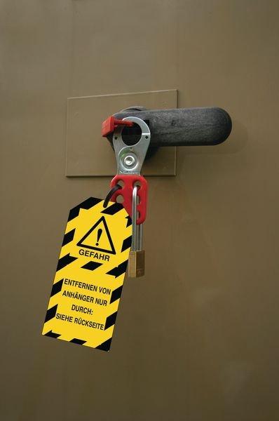 Vor der Wartung der Maschine ausschalten! – Lockout-Anhänger für Warnhinweise