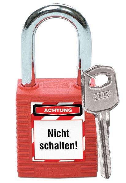 Unbefugtes Entfernen vom Schloss... – Lockout-Sticker für Schlösser, auf Bogen - Wartungsanhänger und Lockout-Etiketten