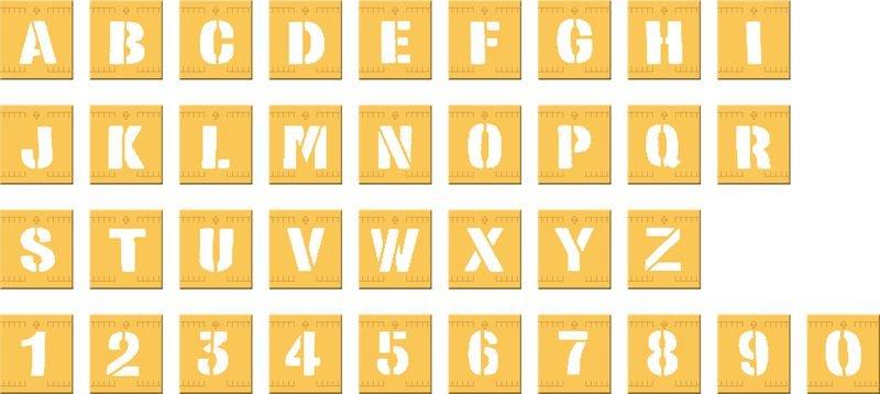 Buchstaben/Ziffern – Schablonen-Set aus Kunststoff