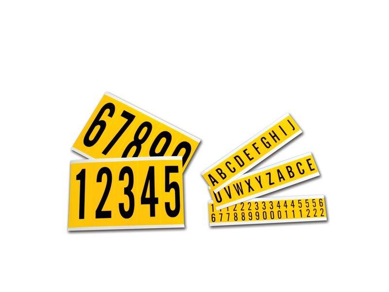 Buchstaben und Ziffern aus Vinyl (hochfest), Zeichenkombinationen