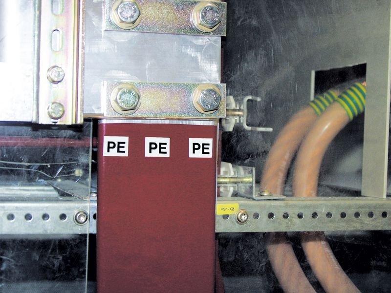 R S T N - Etiketten zur Kennzeichnung von Spannung, Phase, Erdung, Isolation