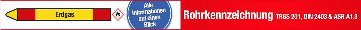 Rohrkennzeichnung nach DIN 2403, ASR A1.3, TRGS 201
