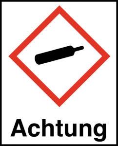 Symbol Gasflasche nach GHS mit Signalwort Achtung