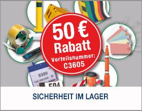 Schaffen Sie Übersicht und Ordnung im Lager - Jetzt 50 € Rabatt ab 299 € mit der Vorteilsnummer C3605 sichern