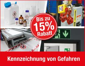 Bis zu 15 % Rabatt auf Gefahrenkennzeichnung