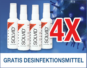 Gratis Desinfektionsmittel sichern! Mit der Vorteilsnummer A3632