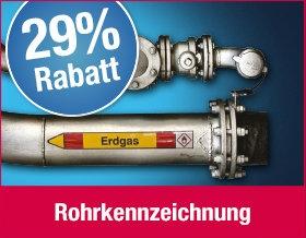 29 % Rabatt auf Rohrleitungskennzeichnung
