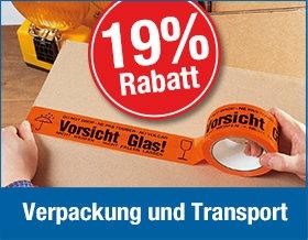 19 % auf Verpackung und Transport
