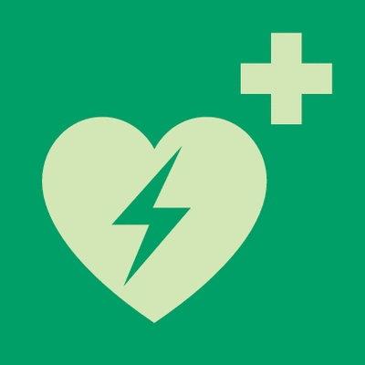 Neues Defibrillator Schild
