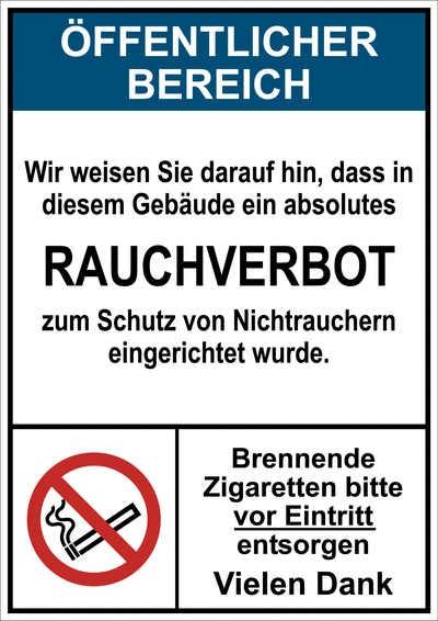 """Hinweisschild """"Öffentlicher Bereich - Rauchverbot"""""""