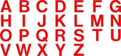 farbcodierte Einzelbuchstaben- und Ziffern
