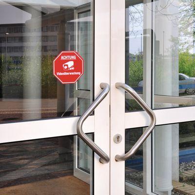 Aufkleber Videoüberwachung im Stoppschild-Design