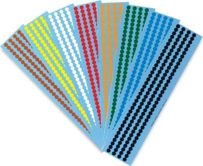 Farbige Klebeetiketten im Mini-Format aus Folie, auf Bogen