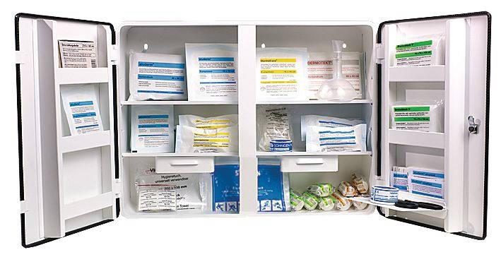 Erste Hilfe Schrank gefüllt nach DIN 13169
