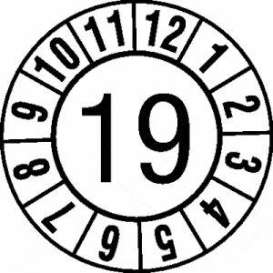 Jahresprüfplaketten 'Jahreszahl, 2-stellig', Weiß