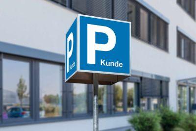 Parkschild-Würfel Kundenparkplatz