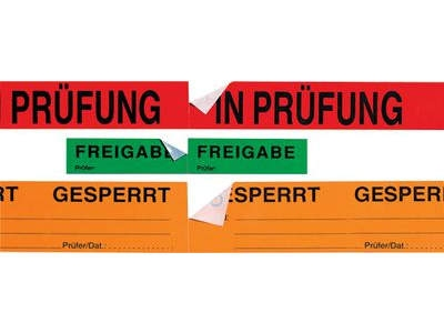 Selbstklebende Qualitaetssicherungs-Bänder mit Abreißperforation
