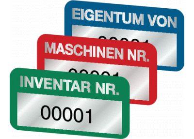 STANDARD Inventaretiketten, mit Vornummerierung