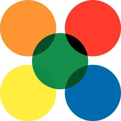 Transluzente Farbpunkte aus Folie, auf Rolle