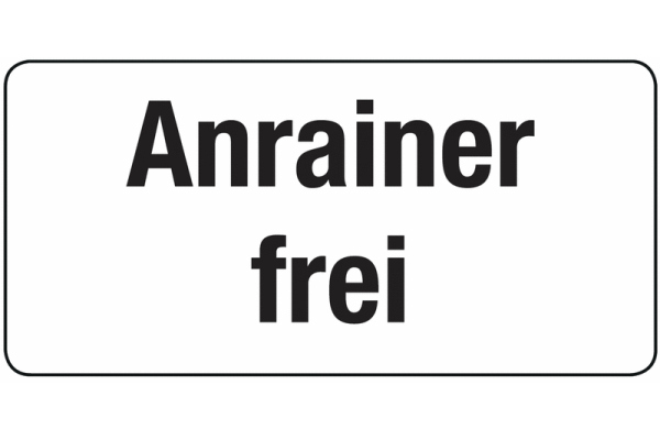 Zusatztafel Anrainer frei StVO Österreich
