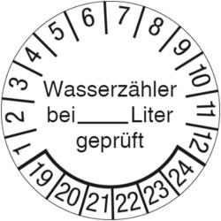 Wasserzähler bei ... Liter geprüft