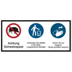 Vorlage: Achtung Schweinepest, Entsorgen Sie Abfälle..., Achten Sie auf Hygiene...