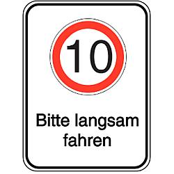 Vorlage: Alu-Geschwindigkeitsschilder mit Symbol und Text - 10 Bitte langsam fahren