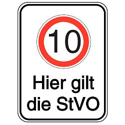 Vorlage: Alu-Geschwindigkeitsschilder mit Symbol und Text - 10 Hier gilt die StVO