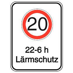 Vorlage: Alu-Geschwindigkeitsschilder mit Symbol und Text - 20 Lärmschutz 22 - 6 h