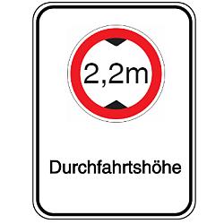 Vorlage: Alu-Höhenbegrenzungsschilder mit Symbol und Text - 2,2 m Durchfahrtshöhe