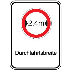Vorlage: Alu-Breitenbegrenzungsschilder mit Symbol und Text - 2,4 m Durchfahrtsbreite