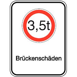 Vorlage: Alu-Schilder mit Symbol und Text - 3,5 t Brückenschäden
