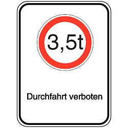 Vorlage: Alu-Schilder mit Symbol und Text - 3,5 t Durchfahrt verboten
