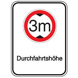 Vorlage: Alu-Höhenbegrenzungsschilder mit Symbol und Text - 3 m Durchfahrtshöhe