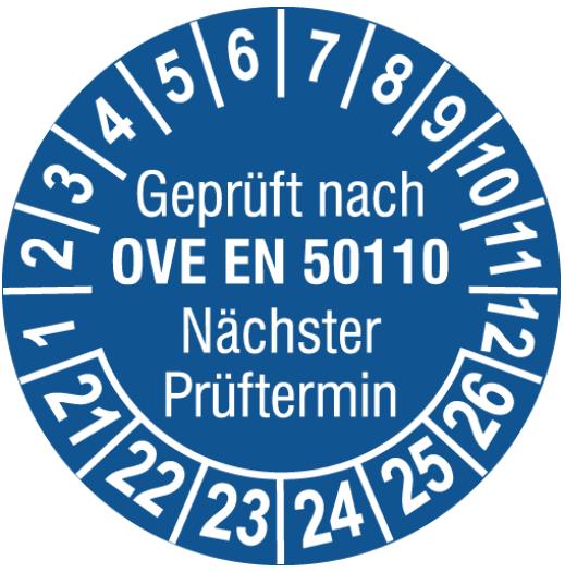 Vorlage: Elektro-Prüfplakette OVE/ÖNORM E 8701 - Nächster Prüftermin