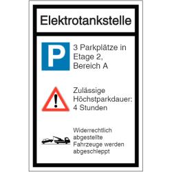 Vorlage: Parkplatz-Kombi-Schild - Elektrotankstelle - Hinweis auf Parkplätze