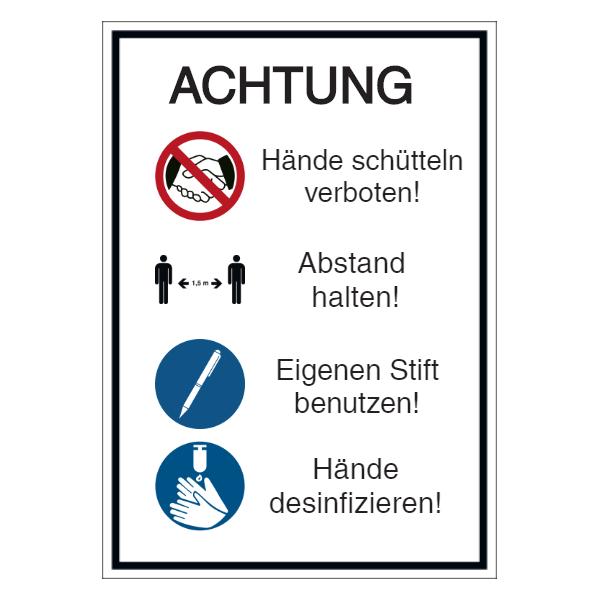 Vorlage: Händeschütteln verboten - Abstand halten - Eigenen Stift benutzen - Hände desinfizieren
