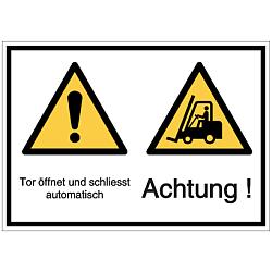 Vorlage: Tor öffnet und schließt automatisch Achtung Symbol / Gabelstapler Achtung!