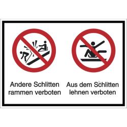 Vorlage: Mehrsymbol-Schild Andere Schlitten rammen verboten - Aus dem Schlitten lehnen verboten