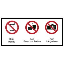 Vorlage: Mehrsymbol-Schild Kein Handy - Kein Essen und Trinken - Kein Fotografieren