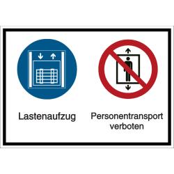 Vorlage: Mehrsymbol-Schild - Lastenaufzug - Personentransport verboten
