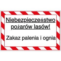 Vorlage: Niebezpieczeństwo pożarów lasów!! Zakaz palenia i ognia - Waldbrandgefahr! Rauchen und Feuer verboten (Polnisch)
