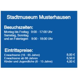 Vorlage: Öffnungszeiten Museum - Folienaufkleber